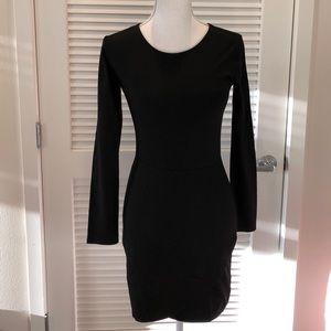 Black front wrap midi long sleeve dress
